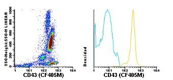 Flow Cytometry - Anti-CD43 antibody [TP1/36] (CF405M) (ab119482)